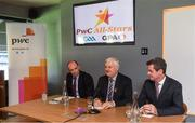 19 September 2017; PwC's sponsorship of the PwC All-Stars was celebrated with an event at Croke Park. The new partnership with the GAA and GPA was officially confirmed last Friday. Uachtarán Chumann Lúthcleas Gael Aogán Ó Fearghail, GPA Chief Executive Dermot Earley and Feargal O'Rourke, Managing Partner, PwC were joined by Galway's All Ireland winning hurling captain David Burke, Waterford hurling captain Kevin Moran and Kerry footballer Paul Geaney at the event. Speaking at the event is Uachtarán Chumann Lúthchleas Gael Aogán Ó Fearghail, in the company of Dermot Earley, GPA Chief Executive, Feargal O'Rourke, Managing Partner, PwC, during the PwC All-Stars hurling nominations at Croke Park in Dublin. Photo by Brendan Moran/Sportsfile