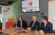 19 September 2017; PwC's sponsorship of the PwC All-Stars was celebrated with an event at Croke Park. The new partnership with the GAA and GPA was officially confirmed last Friday. Uachtarán Chumann Lúthcleas Gael Aogán Ó Fearghail, GPA Chief Executive Dermot Earley and Feargal O'Rourke, Managing Partner, PwC were joined by Galway's All Ireland winning hurling captain David Burke, Waterford hurling captain Kevin Moran and Kerry footballer Paul Geaney at the event. Speaking at the event is Dermot Earley, GPA Chief Executive, in the company of Uachtarán Chumann Lúthchleas Gael Aogán Ó Fearghail, and Feargal O'Rourke, Managing Partner, PwC, during the PwC All-Stars hurling nominations at Croke Park in Dublin. Photo by Brendan Moran/Sportsfile