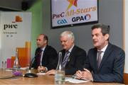 19 September 2017; PwC's sponsorship of the PwC All-Stars was celebrated with an event at Croke Park. The new partnership with the GAA and GPA was officially confirmed last Friday. Uachtarán Chumann Lúthcleas Gael Aogán Ó Fearghail, GPA Chief Executive Dermot Earley and Feargal O'Rourke, Managing Partner, PwC were joined by Galway's All Ireland winning hurling captain David Burke, Waterford hurling captain Kevin Moran and Kerry footballer Paul Geaney at the event. Speaking at the event is Feargal O'Rourke, Managing Partner, PwC, in the company of Uachtarán Chumann Lúthchleas Gael Aogán Ó Fearghail, and Dermot Earley, GPA Chief Executive, during the PwC All-Stars hurling nominations at Croke Park in Dublin. Photo by Brendan Moran/Sportsfile
