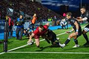 22 September 2017; Rory Scannell of Munster goes over to score a try during the Guinness PRO14 Round 4 match between Glasgow Warriors and Munster at Scotstoun Stadium in Glasgow. Photo by Rob Casey/Sportsfile