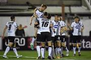 22 September 2017; Steven Kinsella, left, of Dundalk celebrates with teammates after scoring his side's first goal of the game during the SSE Airtricity League Premier Division match between Dundalk and Drogheda United at Oriel Park in Louth. Photo by Seb Daly/Sportsfile