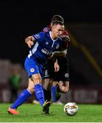 22 September 2017; Graham Kelly of St. Patrick's Athletic in action against Dan Byrne of Bohemians during the SSE Airtricity League Premier Division match between Bohemians and St Patrick's Athletic at Dalymount Park in Dublin. Photo by Eóin Noonan/Sportsfile