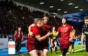 22 September 2017; Rory Scannell of Munster, left, celebrates scoring a try during the Guinness PRO14 Round 4 match between Glasgow Warriors and Munster at Scotstoun Stadium in Glasgow. Photo by Rob Casey/Sportsfile