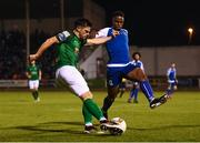 22 September 2017; Jimmy Keohane of Cork City in action against Chiedozie Ogbene of Limerick during the SSE Airtricity League Premier Division match between Limerick FC and Cork City at Markets Fields in Limerick. Photo by Stephen McCarthy/Sportsfile