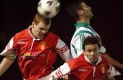 23 September 2002; Colm Foley and Liam Kelly, St. Patrick's Athletic, in action against  Stephen Fox, Bray Wanderers.  St. Patrick's Athletic v Bray Wanderers, eircom League Premier Division, Richmond Park, Dublin. Soccer. Picture credit; David Maher / SPORTSFILE *EDI*