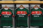 17 September 2017; The jerseys of Kevin McLoughlin, Aidan O'Shea and Diarmuid O'Connor of Mayo hang in the Mayo dressingroom prior to the GAA Football All-Ireland Senior Championship Final match between Dublin and Mayo at Croke Park in Dublin. Photo by Brendan Moran/Sportsfile