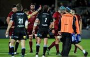 22 September 2017; Fineen Wycherley of Munster is shown a red card by referee Nigel Owens during the Guinness PRO14 Round 4 match between Glasgow Warriors and Munster at Scotstoun Stadium in Glasgow. Photo by Rob Casey/Sportsfile