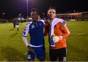 22 September 2017; Chiedozie Ogbene, left, and Brendan Clarke of Limerick following the SSE Airtricity League Premier Division match between Limerick FC and Cork City at Markets Fields in Limerick. Photo by Stephen McCarthy/Sportsfile