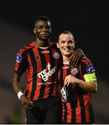 22 September 2017; Ismahil Akinade, left, of Bohemians celebrates with Derek Pender after the SSE Airtricity League Premier Division match between Bohemians and St Patrick's Athletic at Dalymount Park in Dublin. Photo by Eóin Noonan/Sportsfile