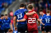 23 September 2017; Luis Faria of Leinster and Alan Kiely of Munster following the under18 clubs interprovincial match between Leinster and Munster at Donnybrook Stadium in Dublin. Photo by Ramsey Cardy/Sportsfile