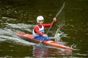 23 September 2017; Nathan Evans, competing in the Junior Racing K1 class, during the 58th International Liffey Descent on the River Liffey at Salmon Leap Canoe Club, in Barnhall, Leixlip, Co Kildare. Photo by Piaras Ó Mídheach/Sportsfile