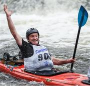23 September 2017; Chris Madden celebrates after he and his partner Sara Madden successfully navigated the falls during the 58th International Liffey Descent on the River Liffey at Lucan Weir in Lucan, Co Dublin. Photo by Cody Glenn/Sportsfile
