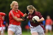 23 September 2017; Amy Wilson of Castletown Liam Mellows, Wexford, in action against Deirdre Tully of Cornafean, Cavan, during All-Ireland Ladies Football Club 7's where every county was represented by over 1,000 players competing in 3 grades for the honourof being the 2017 Ladies All Ireland Club 7s Champions. Naomh Mearnóg and St. Sylvester's were the host club to the intensely competitive clubs competition at Naomh Mearnóg in Portmarnock, Dublin. Photo by Eóin Noonan/Sportsfile