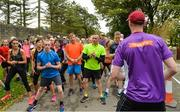 23 September 2017; Former Donegal GAA footballer, Eamon and current Donegal GAA player Jason McGee pictured at the Falcarragh parkrun where Vhi hosted a special event to celebrate their partnership with parkrun Ireland. Eamon was on hand to lead the warm up for parkrun participants before completing the 5km course alongside newcomers and seasoned parkrunners alike. Vhi provided walkers, joggers, runners and volunteers at Falcarragh parkrun with a variety of refreshments in the Vhi Relaxation Area at the finish line. A qualified physiotherapist was also available to guide participants through a post event stretching routine to ease those aching muscles. parkruns take place over a 5km course weekly, are free to enter and are open to all ages and abilities, providing a fun and safe environment to enjoy exercise. To register for a parkrun near you visit www.parkrun.ie. New registrants should select their chosen event as their home location. You will then receive a personal barcode which acts as your free entry to any parkrun event worldwide. Photo by Oliver McVeigh/Sportsfile