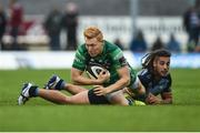 23 September 2017; Rory Scholes of Connacht is tackled by Josh Navadi of Cardiff during the Guinness PRO14 Round 4 match between Connacht and Cardiff Blues at The Sportsground in Galway. Photo by Diarmuid Greene/Sportsfile