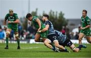 23 September 2017; Dave Heffernan of Connacht is tackled by Alex Cuthbert and Seb Davies of Cardiff Blues during the Guinness PRO14 Round 4 match between Connacht and Cardiff Blues at The Sportsground in Galway. Photo by Diarmuid Greene/Sportsfile