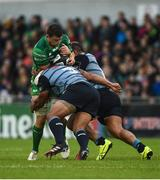 23 September 2017; Eoghan Masterson of Connacht is tackled by Taufa'ao Filise, left, and Nick Williams of Cardiff during the Guinness PRO14 Round 4 match between Connacht and Cardiff Blues at The Sportsground in Galway. Photo by Diarmuid Greene/Sportsfile