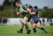 23 September 2017; Shane Delahunt of Connacht is tackled by Keiron Assiratti and Tomos Williams of Cardiff during the Guinness PRO14 Round 4 match between Connacht and Cardiff Blues at The Sportsground in Galway. Photo by Diarmuid Greene/Sportsfile