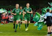 23 September 2017; Connacht players Andrew Deegan, Jarrad Butler, and Rory Scholes make their way out for the Guinness PRO14 Round 4 match between Connacht and Cardiff Blues at The Sportsground in Galway. Photo by Diarmuid Greene/Sportsfile