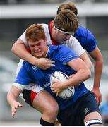 23 September 2017; Anthony Ryan of Leinster is tackled by John McKee of Ulster during the under 18 schools interprovincial match between Leinster and Ulster at Donnybrook Stadium Dublin. Photo by Ramsey Cardy/Sportsfile