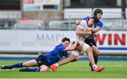 23 September 2017; David McCann of Ulster is tackled by Mick O'Gara, left, and Jack Cooke of Leinster during the under 18 schools interprovincial match between Leinster and Ulster at Donnybrook Stadium Dublin. Photo by Ramsey Cardy/Sportsfile