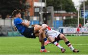 23 September 2017; Max O'Reilly of Leinster is tackled by Aaron Sexton of Ulster during the under 18 schools interprovincial match between Leinster and Ulster at Donnybrook Stadium Dublin. Photo by Ramsey Cardy/Sportsfile