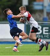 23 September 2017; Robin McIlveen of Ulster is tackled by Max O'Reilly of Leinster during the under 18 schools interprovincial match between Leinster and Ulster at Donnybrook Stadium Dublin. Photo by Ramsey Cardy/Sportsfile