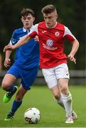 23 September 2017; Aaron Perry of Sligo Rovers in action against Jack Larkin of  Waterford FC during the SSE Airtricity National Under 17 League Mark Farren Cup Final match between Waterford FC and Sligo Rovers at RSC in Waterford. Photo by Matt Browne/Sportsfile