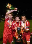 23 September 2017; Shelbourne Ladies players, from left, Siobhan Killeen, Leanne Kiernan and Gloria Douglas celebrate following the Continental Tyres Women's National League Cup Final match between Peamount United and Shelbourne Ladies at Greenogue in Dublin. Photo by Stephen McCarthy/Sportsfile