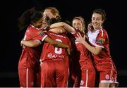 23 September 2017; Shelbourne Ladies players, including Gloria Douglas, left, and Roma McLaughlin, right, celebrate with Rachel Graham, 8, after she scored their winning penalty of the penalty shoot-out during the Continental Tyres Women's National League Cup Final match between Peamount United and Shelbourne Ladies at Greenogue in Dublin. Photo by Stephen McCarthy/Sportsfile