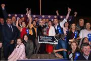 23 September 2017; The winning connections of Good News including trainer Pat Gilfoyle, centre right, joint-owners Sandra Gilfoyle, holding trophy in white and red, and Mary Kennedy, in yellow and black, centre left, and Jenna Boyle, Head of Retail for Boylesports, centre in black, after winning the Boylesports Irish Greyhound Derby during Boylesports Irish Greyhound Derby at Shelbourne Park in Dublin. Photo by Cody Glenn/Sportsfile
