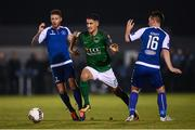 22 September 2017; Shane Griffin of Cork City in action against Lee J Lynch, left, and Stephen Kenny of Limerick during the SSE Airtricity League Premier Division match between Limerick FC and Cork City at Markets Fields in Limerick. Photo by Stephen McCarthy/Sportsfile