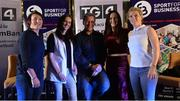 23 September 2017; Attendees, from left, Irish Rugby Legend Lindsay Peat, Champion Jockey Rachael Blackmore, founder and CEO of Sport for Business Rob Hartnett, World and Europe Boxing medallist Kellie Harrington, and All-Ireland Ladies Football winner Valerie Mulcahy, during Women in Sport: the Challenges and Opportunities discussion panel. Women in Sport: The Challenges and Opportunities TG4 in partnership with Sport for Business, hosted a panel discussion entitled Women in Sport, the Challenges and Opportunities. The panel discussion took place at the Croke Park Hotel on Saturday September 23rd. The chairperson on the night was Gráinne McElwain and the panellists were: Irish Rugby Legend Lindsay Peat, All-Ireland Ladies Football winner Valerie Mulcahy, World and Europe Boxing medallist Kellie Harrington, and Champion Jockey Rachael Blackmore. The Croke Park Hotel in Dublin. Photo by Piaras Ó Mídheach/Sportsfile