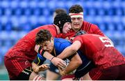 23 September 2017; Luis Faria of Leinster is tackled by Thomas Ahern, left, and Eoin O'Connor of Munster during the under18 clubs interprovincial match between Leinster and Munster at Donnybrook Stadium in Dublin. Photo by Ramsey Cardy/Sportsfile