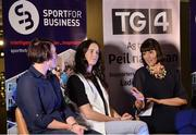 23 September 2017; Attendees, from left, Irish Rugby Legend Lindsay Peat, Champion Jockey Rachael Blackmore and MC Gráinne McElwain in attendance during Women in Sport: the Challenges and Opportunities discussion panel. Women in Sport: The Challenges and Opportunities TG4 in partnership with Sport for Business, hosted a panel discussion entitled Women in Sport, the Challenges and Opportunities. The panel discussion took place at the Croke Park Hotel on Saturday September 23rd. The chairperson on the night was Gráinne McElwain and the panellists were: Irish Rugby Legend Lindsay Peat, All-Ireland Ladies Football winner Valerie Mulcahy, World and Europe Boxing medallist Kellie Harrington, and Champion Jockey Rachael Blackmore. The Croke Park Hotel in Dublin. Photo by Piaras Ó Mídheach/Sportsfile