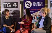 23 September 2017; Attendees, from left, MC Gráinne McElwain, World and Europe Boxing medallist Kellie Harrington and All-Ireland Ladies Football winner Valerie Mulcahy in attendance during Women in Sport: the Challenges and Opportunities discussion panel. Women in Sport: The Challenges and Opportunities TG4 in partnership with Sport for Business, hosted a panel discussion entitled Women in Sport, the Challenges and Opportunities. The panel discussion took place at the Croke Park Hotel on Saturday September 23rd. The chairperson on the night was Gráinne McElwain and the panellists were: Irish Rugby Legend Lindsay Peat, All-Ireland Ladies Football winner Valerie Mulcahy, World and Europe Boxing medallist Kellie Harrington, and Champion Jockey Rachael Blackmore. The Croke Park Hotel in Dublin. Photo by Piaras Ó Mídheach/Sportsfile