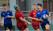 23 September 2017; Luis Faria of Leinster celebrates after scoring a try during the under18 clubs interprovincial match between Leinster and Munster at Donnybrook Stadium in Dublin. Photo by Ramsey Cardy/Sportsfile