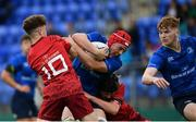 23 September 2017; Luke Thompson of Leinster is tackled by Ben Daly of Munster during the under18 clubs interprovincial match between Leinster and Munster at Donnybrook Stadium in Dublin. Photo by Ramsey Cardy/Sportsfile