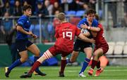 23 September 2017; Paddy McKenzie of Leinster is tackled by Oisin Cooke of Munster during the under18 clubs interprovincial match between Leinster and Munster at Donnybrook Stadium in Dublin. Photo by Ramsey Cardy/Sportsfile