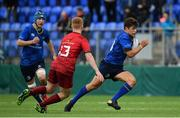 23 September 2017; Luis Faria of Leinster in action against Patrick Scully of Munster during the under18 clubs interprovincial match between Leinster and Munster at Donnybrook Stadium in Dublin. Photo by Ramsey Cardy/Sportsfile