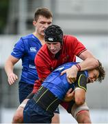 23 September 2017; Luis Faria of Leinster is tackled by Eoin O'Connor of Munster during the under 18 clubs interprovincial match between Leinster and Munster at Donnybrook Stadium in Dublin. Photo by Ramsey Cardy/Sportsfile