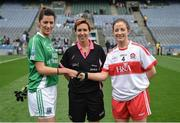 24 September 2017; Fermanagh captain Áine McGovern shakes hands with Derry captain Cáit Glass in the presence of match referee Angela Gallagher ahead of the TG4 Ladies Football All-Ireland Junior Championship Final match between Derry and Fermanagh at Croke Park in Dublin. Photo by Cody Glenn/Sportsfile