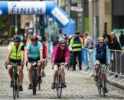 24 September 2017; Cllr. Janice Boylan was on hand in Smithfield, to officially start the biggest cycling event of its kind to take place in Dublin. The Great Dublin Bike Ride is an initiative from Sport Ireland who work in conjunction with Dublin City Council, Healthy Ireland, Fingal County Council and Cycling Ireland.The Great Dublin Bike Ride was a flagship event in Ireland for the European Week of Sport (23 - 30 September) and encourages everyone to #BeActive. The Gardaí, Luas, Dublin Bus and Civil Defence worked hard with the various city and county councils to ensure the safety and enjoyment of participants on the day. Pictured is a general view as riders finish, at The Great Dublin Bike Ride 2017, Smithfield Square, Dublin. Photo by Seb Daly/Sportsfile