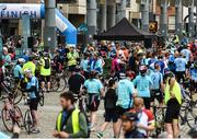 24 September 2017; Cllr. Janice Boylan was on hand in Smithfield, to officially start the biggest cycling event of its kind to take place in Dublin. The Great Dublin Bike Ride is an initiative from Sport Ireland who work in conjunction with Dublin City Council, Healthy Ireland, Fingal County Council and Cycling Ireland.The Great Dublin Bike Ride was a flagship event in Ireland for the European Week of Sport (23 - 30 September) and encourages everyone to #BeActive. The Gardaí, Luas, Dublin Bus and Civil Defence worked hard with the various city and county councils to ensure the safety and enjoyment of participants on the day. Pictured is a general view of the finish area, at The Great Dublin Bike Ride 2017, Smithfield Square, Dublin. Photo by Seb Daly/Sportsfile