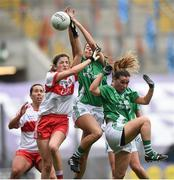 24 September 2017; Jackie Donnelly of Derry in action against Róisín O'Reilly, centre, and Nuala McManus of Fermanagh during the TG4 Ladies Football All-Ireland Junior Championship Final match between Derry and Fermanagh at Croke Park in Dublin. Photo by Cody Glenn/Sportsfile