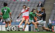 24 September 2017; Megan Devine of Derry scores her side's second goal despite the best efforts of Courtney Murphy and goalkeeper Róisín Gleeson of Fermanagh during the TG4 Ladies Football All-Ireland Junior Championship Final match between Derry and Fermanagh at Croke Park in Dublin. Photo by Brendan Moran/Sportsfile