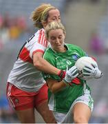 24 September 2017; Shauna Hamilton of Fermanagh in action against Ciara Moore of Derry during the TG4 Ladies Football All-Ireland Junior Championship Final match between Derry and Fermanagh at Croke Park in Dublin. Photo by Brendan Moran/Sportsfile