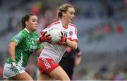 24 September 2017; Ciara McGurk of Derry in action against Naomi McManus of Fermanagh during the TG4 Ladies Football All-Ireland Junior Championship Final match between Derry and Fermanagh at Croke Park in Dublin. Photo by Brendan Moran/Sportsfile