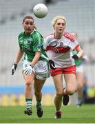 24 September 2017; Nuala McManus of Fermanagh in action against Aoife McGough of Derry during the TG4 Ladies Football All-Ireland Junior Championship Final match between Derry and Fermanagh at Croke Park in Dublin. Photo by Cody Glenn/Sportsfile