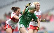 24 September 2017; Eimear Smyth of Fermanagh in action against Cáit Glass of Derry during the TG4 Ladies Football All-Ireland Junior Championship Final match between Derry and Fermanagh at Croke Park in Dublin. Photo by Cody Glenn/Sportsfile